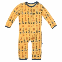 Kickee Pants Fuzzy Bee Guitars Coverall
