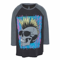 Lauren Moshi Born To Be Wild Mohawk Skull Raglan