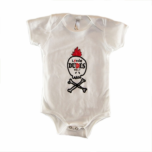 Little Dudes Only Mohawk Skull Onesie