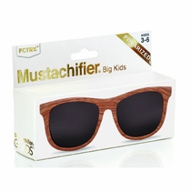 Mustachifier Golds Wood Frame Polarized Kids Sunglasses