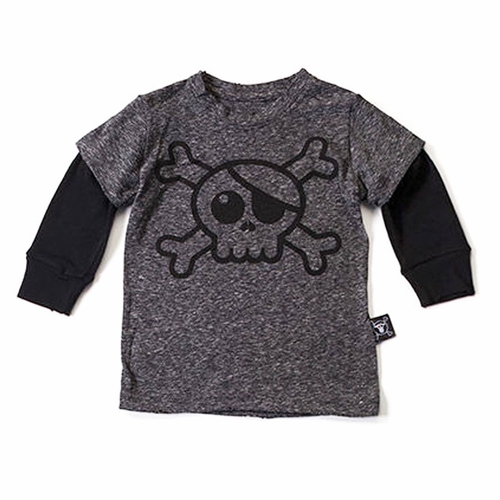 nununu Skull Long Sleeve Twofer Tee