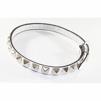 Ollie Baby Pyramid Stud White Leather Belt