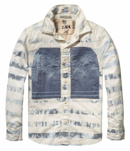 Scotch Shrunk Palm Tree Denim Shirt