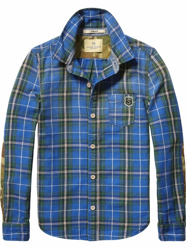 Scotch Shrunk Plaid Shirt with Camo Elbow Patches
