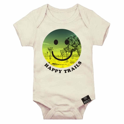 Tiny Whales Happy Trails Smiley Face Onesie