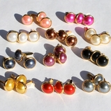 10MM Pearl Brads - Gold Edge - Choose Color