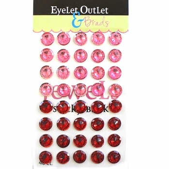 12mm Bling Jewels - Red/Pink