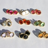 12MM Jewel Brads - Gold Edge- Choose Color