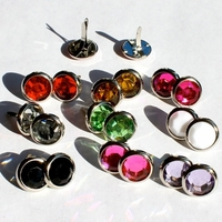 12MM Jewel Brads - Silver Edge- Choose Color