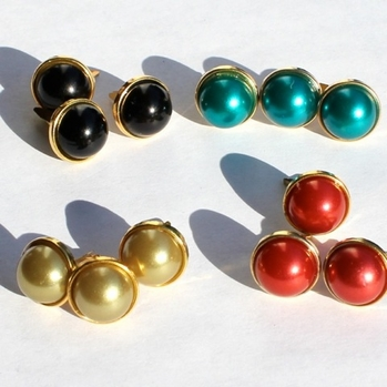12MM Pearl Brads - Gold Edge - Choose Color