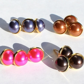 12MM Pearl Brads - Gold Edge- Choose Color