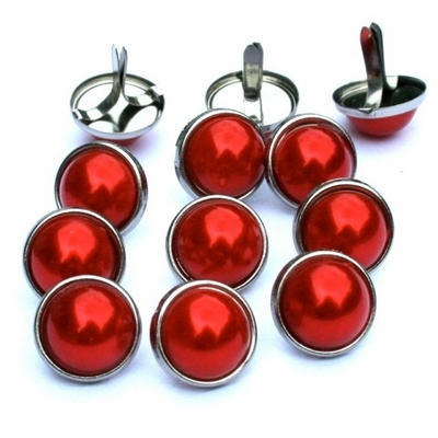 12mm Pearl Brads - Red