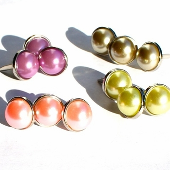12MM Pearl Brads - Silver Edge - Choose Color
