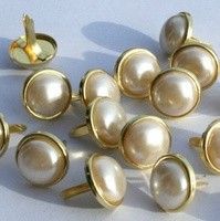 12MM Pearl Brads - White/Gold