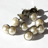 12mm Pearl Brads - White/Silver