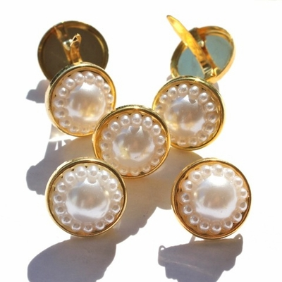 14MM Pearl Brads -Off  White/Gold