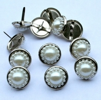 14mm Pearl Brads - White/Silver