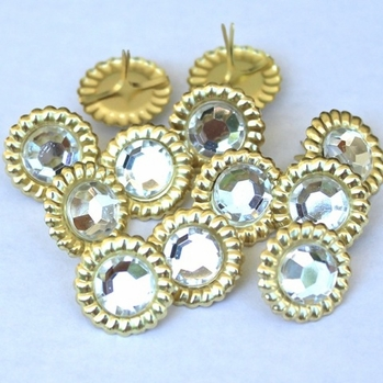 14mm Scalloped Brads- Clear