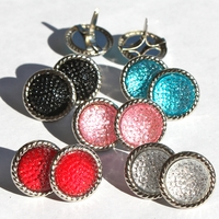 16MM Stippled Jewel Brads - Silver Edge- Choose Color