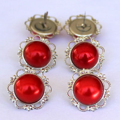 21mm Pearl Brads - Red