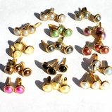 6mm Pearl Brads - Gold Edge - Choose Color
