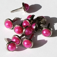 8mm Pearl Brads - Hot Pink
