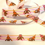 Birthday Sock Monkey Ribbon - Stripes