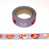 Blue/Red Heart Washi Tape