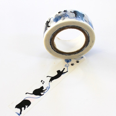 Cat Washi Tape - Blue Yarn