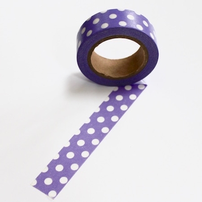Dot Washi Tape - Puple/White- Out Of Stock
