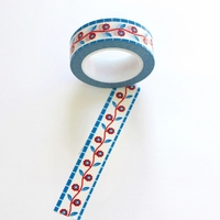 Flower Washi Tape - Red/ Blue