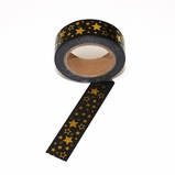 Foil Washi Tape - Black/ Gold Stars