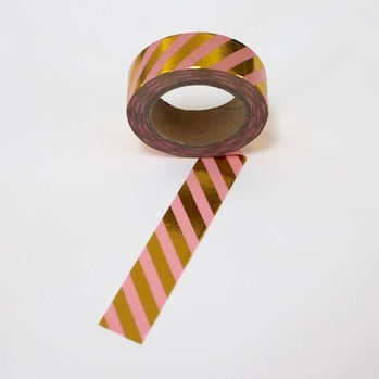 Foil Washi Tape - Gold Pink Stripe