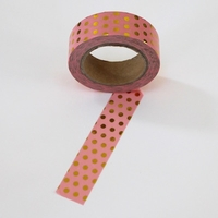 Foil Washi Tape - Pink / Gold Dots