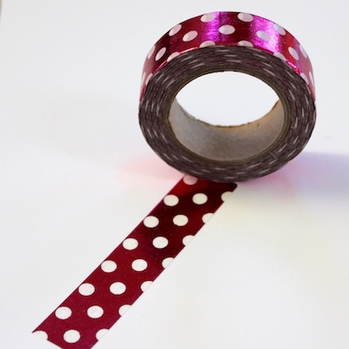 Foil Washi Tape - Pink/White Dots