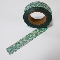 Glitter Green Swirl Washi Tape