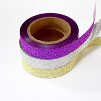 Glitter Skinny Washi Tape - Silver, Purple, Gold