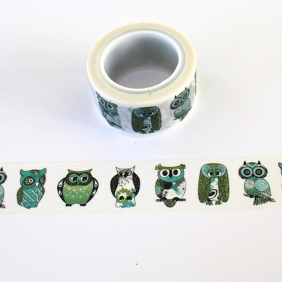 Green Owl Washi Tape