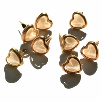 Heart Pearl Brads - Gold/White