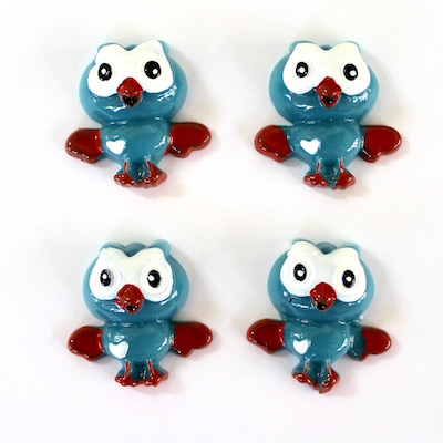 Owl Flatback Resin - Blue