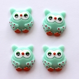 Owl Flatback Resin - Green