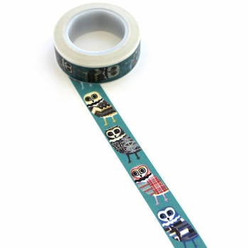 Owl Washi Tape - Blue/Vertical
