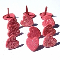 Plump Glitter Heart Brads- Red or Pink