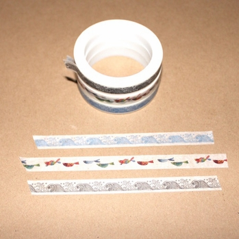 Skinny Washi Tape - Fish/ Wave