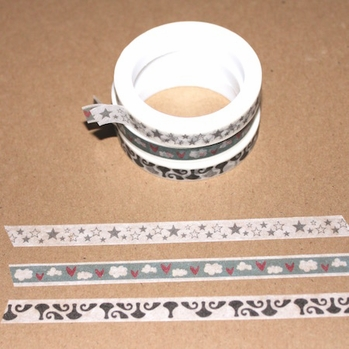 Skinny Washi Tape - Star/Heart/Pawn