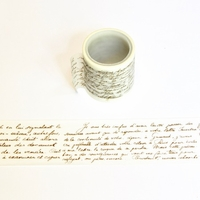 Text Washi Tape - Gold & White