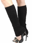 Cable Knit Leg Warmers, Boot Socks - Black