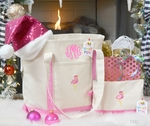 Christmas Flamingo Monogrammed Tote & Cosmetic Bag Set