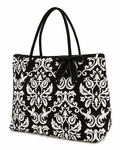 Damask Print Large Overnight Tote Bag - Personalized Free!