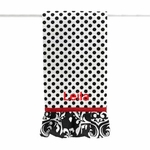 Damask Print Monogrammed Kitchen Towel